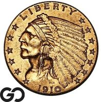 1910 QUARTER EAGLE $2.5 GOLD INDIAN INVESTMENT GOLD PIECE