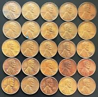 LOT OF 25X USA LINCOLN WHEAT 1 CENT COINS - DATES: 1951 TO 1961