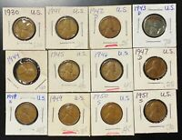 LOT OF 12X USA LINCOLN WHEAT CENTS - DATES: 1930 TO 1951