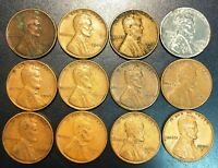 LOT OF 12X USA LINCOLN WHEAT SMALL CENT PENNIES - DATES: 1926 TO 1959