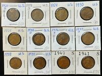 LOT OF 12X USA LINCOLN WHEAT CENTS - DATES: 1927 TO 1941