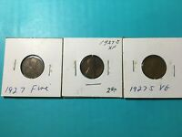 1927 P-D-S LINCOLN WHEAT PENNIES 1927-P 1927-D 1927-S LOT OF 3