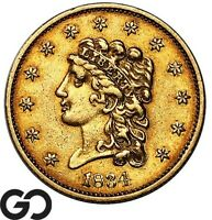 1834 QUARTER EAGLE $2.5 GOLD CLASSIC HEAD SOUGHT AFTER EARLY