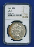 1888 O NGC MINT STATE 63 MORGAN SILVER DOLLAR $1 BETTER DATE 1888-O NGC MINT STATE 63 PQ COIN