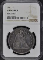 1867 SEATED LIBERTY - MOTTO S$1 NGC AU DETAILS