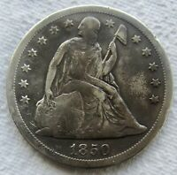 1850-O SEATED LIBERTY SILVER DOLLAR FINE / VF DETAIL CLEANED