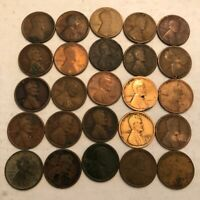 HALF-ROLL OF 25 1918-D LINCOLN WHEAT CENTS. AG-FINE, WITH PROBLEMS. UG4