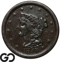 1857 HALF CENT BRAIDED HAIR EARLY DATE COLLECTOR COPPER