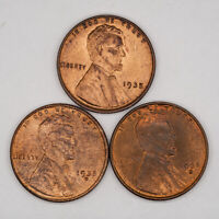 1935 P / D / S LINCOLN WHEAT CENT 1C CHOICE BU UNC RB/RED - 3 COIN SET 9019