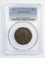 1802 DRAPED BUST LARGE CENT CERTIFIED PCGS VF 30 1C