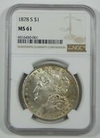 1878-S MORGAN DOLLAR CERTIFIED NGC MINT STATE 61 SILVER DOLLAR