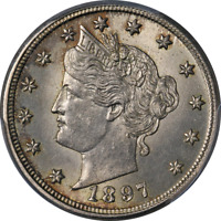 1897 LIBERTY V NICKEL PCGS MINT STATE 63 GREAT EYE APPEAL STRONG STRIKE