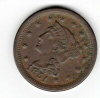 1 1851 LARGE CENT - BRAIDED HAIR- EXTRA FINE