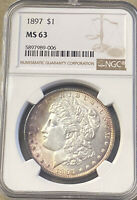 1897 MORGAN DOLLAR NGC MINT STATE 63