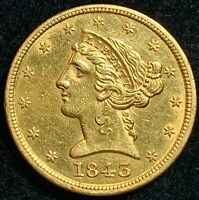 1843 $5 GOLD LIBERTY   HALF EAGLE   PRE CIVIL WAR   FANTASTI