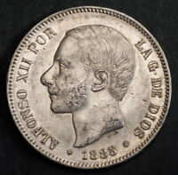 1885 KINGDOM OF SPAIN ALFONSO XII. LARGE SILVER 5 PESETAS COIN. STRUCK 1887