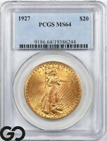1927 DOUBLE EAGLE $20 GOLD ST GAUDENS PCGS MINT STATE 64