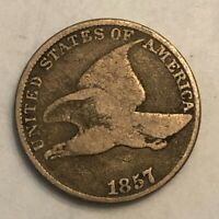 1857 FLYING EAGLE COPPER-NICKEL U.S. CENT, VG, NO2