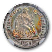 1873 SEATED HALF DIME NGC PF 62 PROOF COLORFUL TONED BEAUTY LOW MINTAGE PROOF