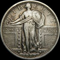CIRCULATED 1917 TYPE-1 STANDING LIBERTY QUARTER  55A