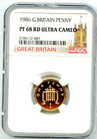 1986 GREAT BRITAIN 1P ONE PENNY NGC PF68 RD UCAM PROOF COIN