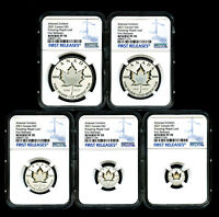 2021 CANADA SILVER PULSATING MAPLE LEAF 5 COIN SET NGC PF70 REV PROOF MINTAGE 3K