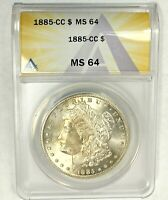1885-CC 1$ CERTIFIED MINT STATE 64 MORGAN SILVER DOLLAR ANACS GRADED CARSON CITY SEMI KY