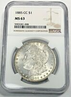 1885-CC 1$ CERTIFIED MINT STATE 63 MORGAN SILVER DOLLAR  NGC GRADED CARSON CITY SEMI KEY