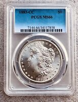 1883-CC PCGS MINT STATE 66 SILVER MORGAN DOLLAR $1 GORGEOUS FROSTY WHITE CARSON CITY COIN