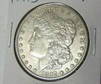 AU 1897-S MORGAN SILVER DOLLAR ABOUT UNCIRCULATED SAN FRANCISCO MINT 21621