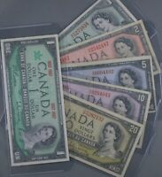 SIX   CANADIAN BANKNOTES     1954   $1  $2  $5  $10  $20