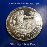 1976 BARBADOS TEN DOLLAR STERLING SILVER PROOF 166730P