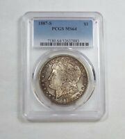 1887-S S/S MORGAN DOLLAR CERTIFIED PCGS MINT STATE 64 SILVER $