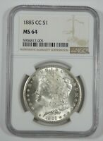 1885-CC MORGAN DOLLAR CERTIFIED NGC MINT STATE 64 CARSON CITY SILVER DOLLAR