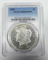 1883 MORGAN DOLLAR CERTIFIED PCGS MINT STATE 64 DMPL DEEP MIRROR PROOF-LIKE SILVER $