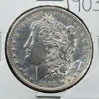 1903 P $1 MORGAN SILVER EAGLE DOLLAR AVERAGE UNCIRCULATED NOT MUCH TONING
