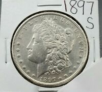 1897 S MORGAN SILVER DOLLAR COIN AU DETAILS CLEANED  LOOKING COIN