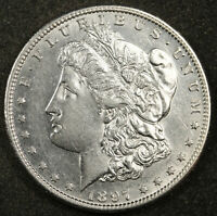 1897-S MORGAN SILVER DOLLAR.   PROOF LIKE.  BU.  157606