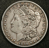 1896-S MORGAN SILVER DOLLAR.   NATURAL UNCLEANED  EXTRA FINE .  157604