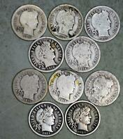 BARBER DIME LOT OF 10 SILVER COINS