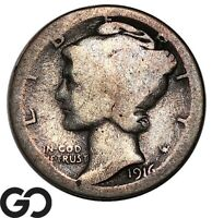 1916 D MERCURY DIME HIGHLY COVETED LOW MINTAGE KEY DATE