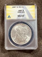 1887 $1 CERTIFIED VAM-10A MINT STATE 63 MORGAN SILVER DOLLAR ANACS GRADED