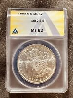 1882-S 1$ CERTIFIED MINT STATE 62 MORGAN SILVER DOLLAR ANACS GRADED