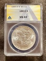 1883-O 1$ CERTIFIED MINT STATE 63 MORGAN SILVER DOLLAR ANACS GRADED