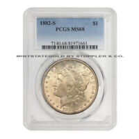 1882-S $1 MORGAN PCGS MINT STATE 68 GEM GRADED SAN FRANCISCO SILVER DOLLAR TONED COIN