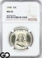 1948 MS65 FRANKLIN HALF DOLLAR NGC MINT STATE 65    LUSTROUS