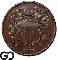 1867 TWO CENT PIECE CHOICE AU   COLLECTOR COPPER