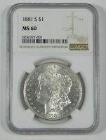 1881-S MORGAN DOLLAR CERTIFIED NGC MINT STATE 60 SILVER DOLLAR