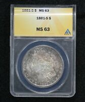 1881-S MORGAN DOLLAR ANACS MINT STATE 63 TONED 10A9