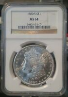 1880-S MORGAN SILVER DOLLAR NGC MINT STATE 64 BRIGHT BEAUTIFUL LUSTER.